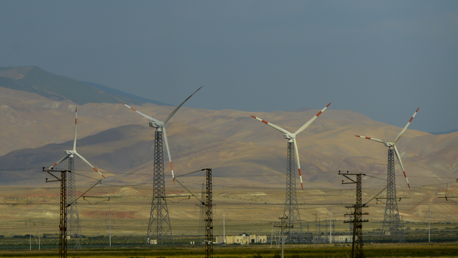 Wind farm on the Baku-Guba highway, Azerbaijan