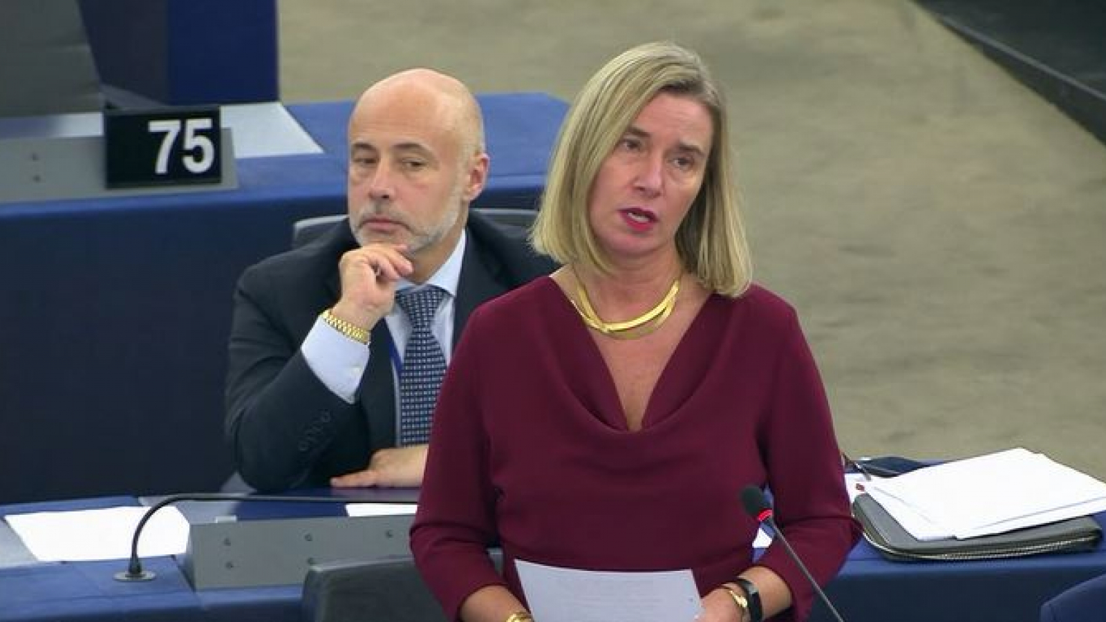 Federica Mogherini at the European Parliament plenary debate on the situation in the broader Middle East region, including the crises in Iran, Iraq and Lebanon
