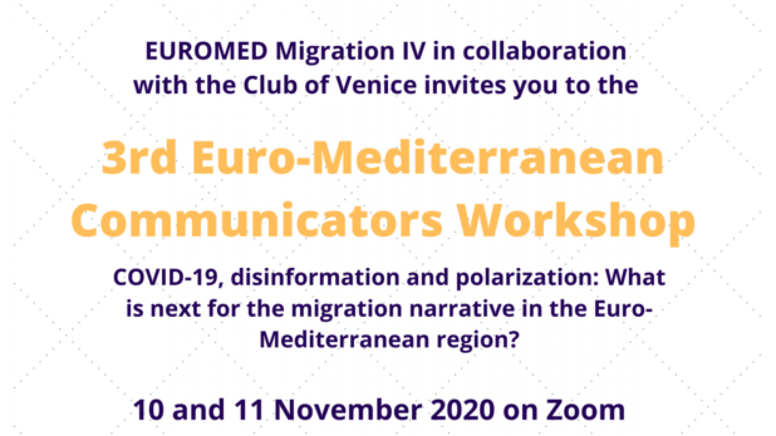 Euromed Migration: Third Euro-Mediterranean Communicator's Workshop for a new balanced narrative on migration