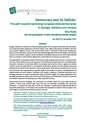 Democracy and its Deficits: The path towards becoming European-style democracies in Georgia, Moldova and Ukraine