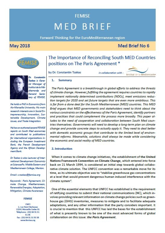 FEMISE MED BRIEF n°6 : The Importance of Reconciling South Med Countries positions on The Paris Agreement