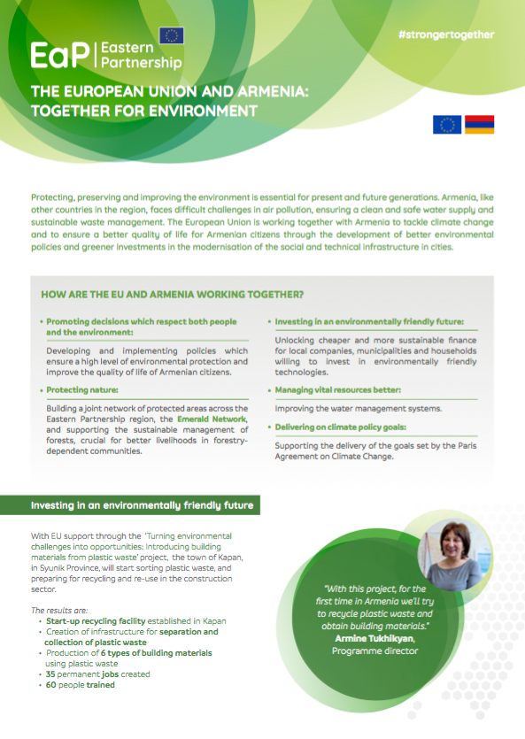 The European Union and Armenia: Together for Environment – factsheet