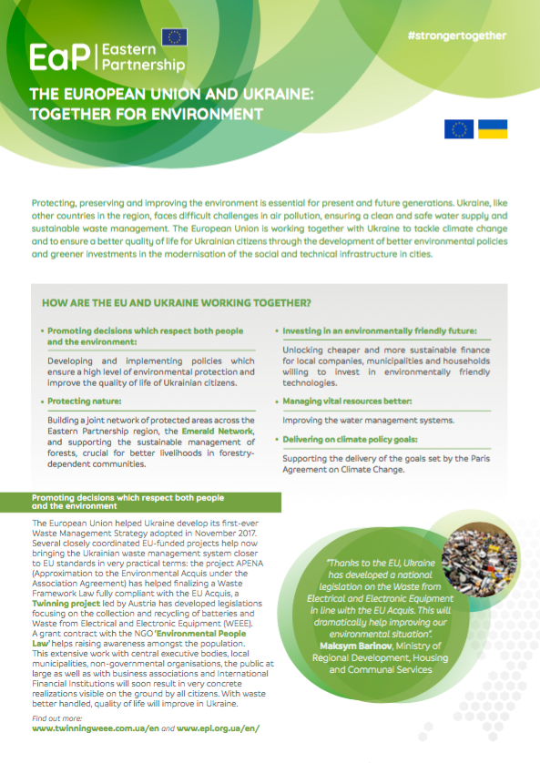 The European Union and Ukraine: Together for Environment – factsheet