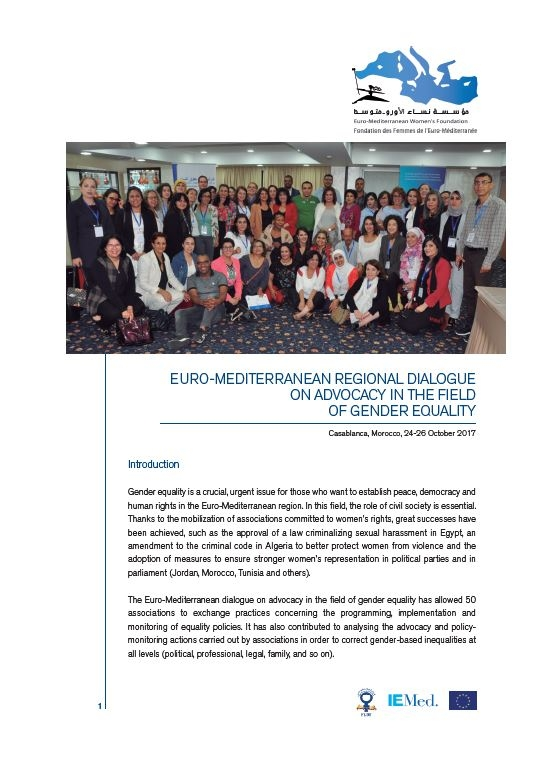 Euro-Mediterranean Regional Dialogue on Advocacy in the Field of Gender Equality