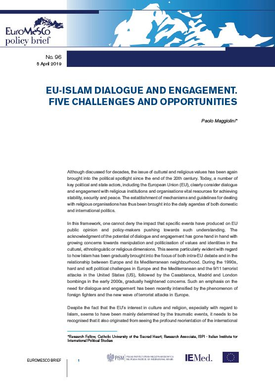 Euromesco policy Brief n°96 – EU-Islam dialogue and engagement. Five challenges and opportunities