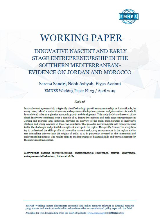 Emnes Working Paper 23: Innovative nascent and early stage entrepreneurship in the Southern Mediterranean – Evidence on Jordan and Morocco