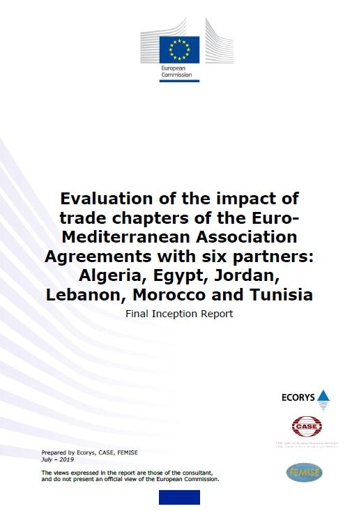 Evaluation of the impact of trade chapters of the Euro-Mediterranean Association Agreements with six partners: Algeria, Egypt, Jordan, Lebanon, Morocco and Tunisia – Final inception report