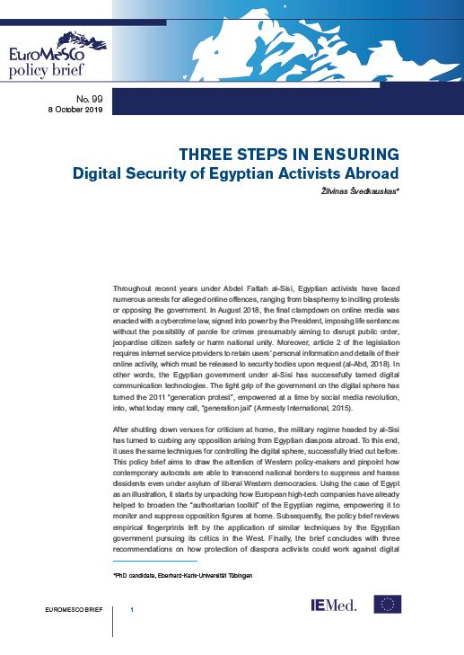 Euromesco Policy Brief n°99 – Three steps in ensuring digital security of Egyptian activists abroad