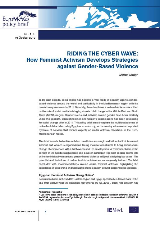 Euromesco Policy Brief n°100 - Riding the Cyber Wave: How Feminist Activism Develops Strategies against Gender-Based Violence