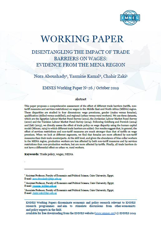 EMNES Working paper 026 – Disentangling the impact of trade barriers on wages: evidence from the MENA region