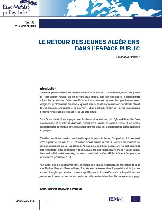 Euromesco Policy Brief n°101 : The return of Algerian youth in the public space