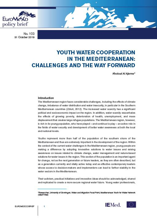 Euromesco Policy Brief n°103 – Youth water cooperation in the Mediterranean: challenges and the way forward