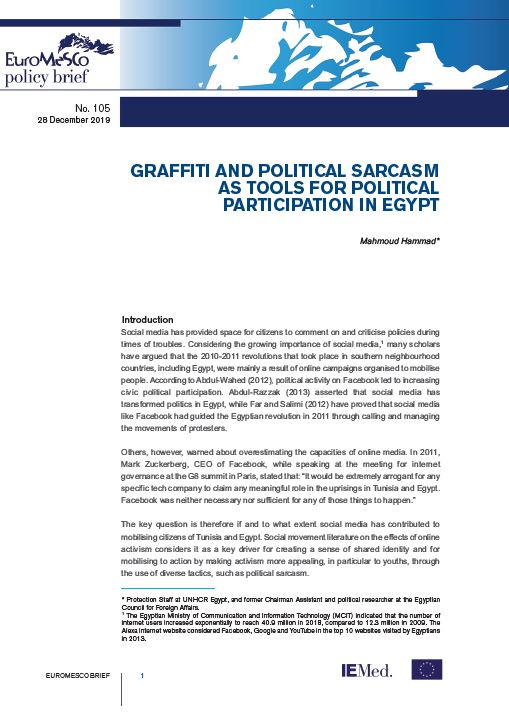 Euromesco Policy Brief 105 : Graffiti and political sarcasm as tools for political participation in Egypt