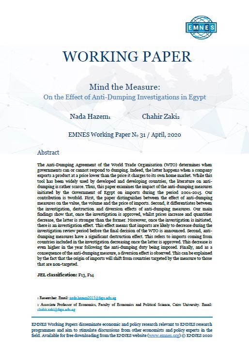 EMNES Working Paper 31 – Mind the measure : on the effect of anti-dumping investigations in Egypt