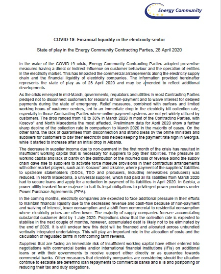 COVID-19: Financial liquidity in the electricity sector