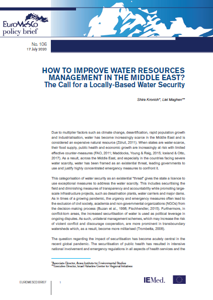 Euromesco Policy Brief n°106 - How to Improve Water Resources Management in the Middle East? The Call for a Locally-Based Water Security