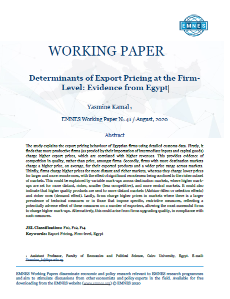 EMNES Working Paper No 41 - Determinants of Export Pricing at the Firm-Level: Evidence from Egypt