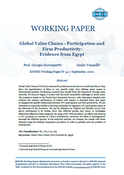 EMNES Working Paper 42: Global Value Chains – Participation and firm productivity: Evidence from Egypt
