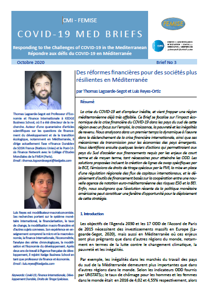 CMI FEMISE COVID-19 MED BRIEF 3: Financial reforms for more Resilient Societies in the Mediterranean
